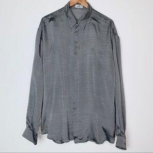 Vintage Versace Silk 1980's Chevron Dress Shirt